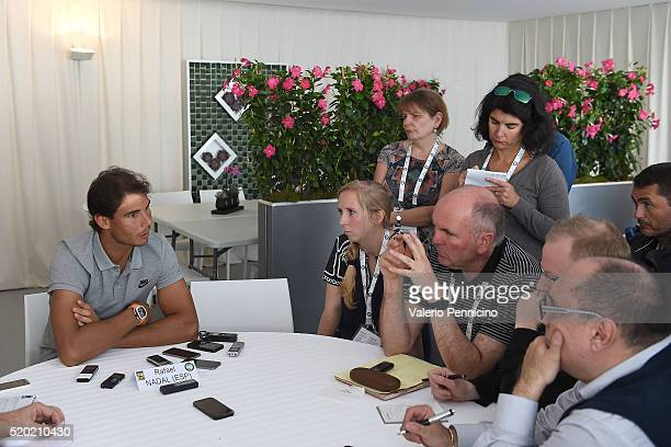 Rafael Nadal of Spain speaks with journalist during media day during day One of the ATP Monte Carlo Masters at the MonteCarlo Country Club on April...