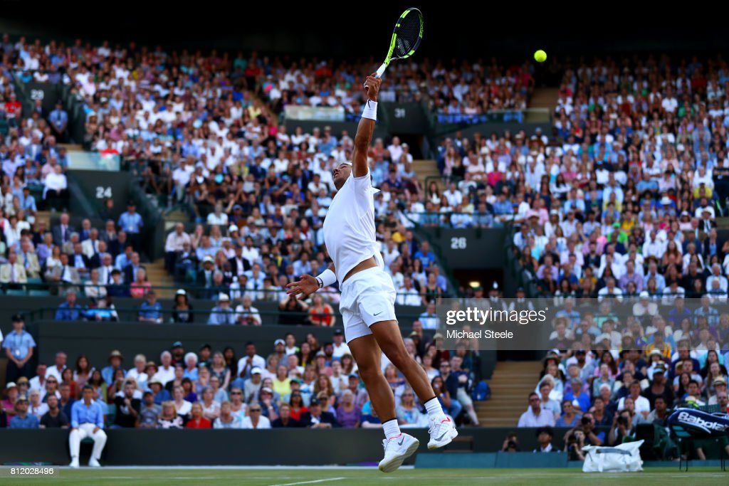 Rafael Nadal of Spain stretches for the ball during the Gentlemen's Singles fourth round match against Gilles Muller of Luxembourg on day seven of the Wimbledon Lawn Tennis Championships at the All England Lawn Tennis and Croquet Club on July 10, 2017 in London, England.