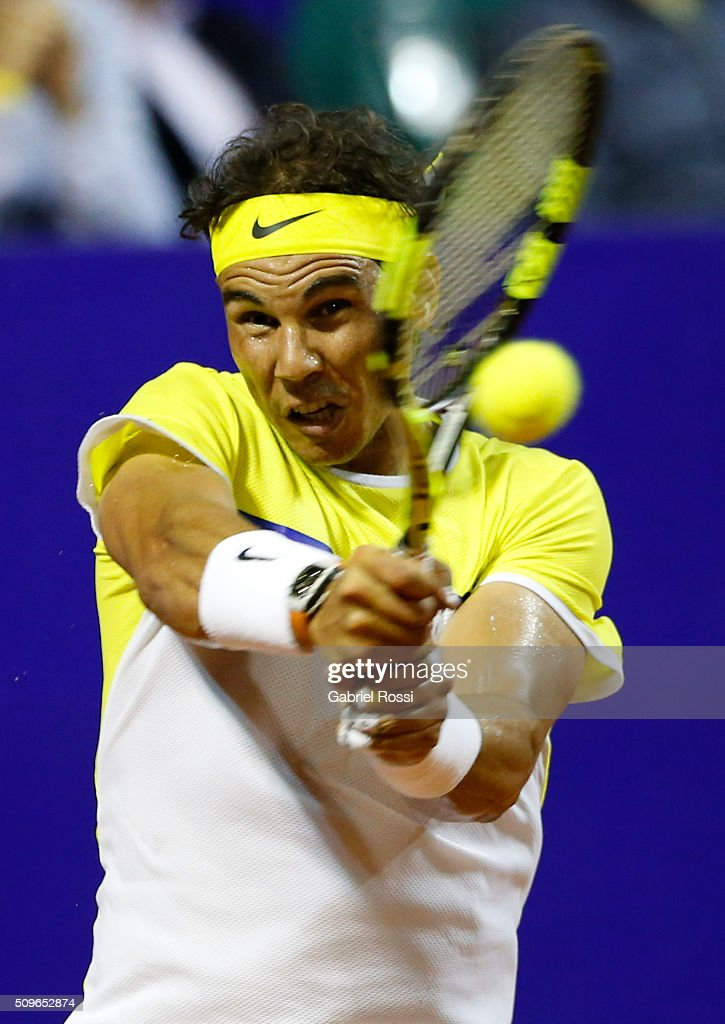 Rafael Nadal of Spain takes a backhand shot during a match between Rafael Nadal of Spain and Juan Monaco of Argentina as part of ATP Argentina Open at Buenos Aires Lawn Tennis Club on February 11, 2016 in Buenos Aires, Argentina.