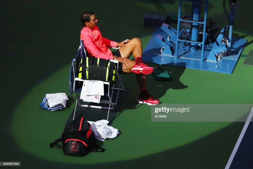 Rafael Nadal of Spain takes a break after defeating Kevin Anderson of South Africa in their Men's Singles Finals match on Day Fourteen of the 2017 US Open at the USTA Billie Jean King National Tennis Center on September 10, 2017 in the Flushing neighborhood of the Queens borough of New York City. Rafael Nadal defeated Kevin Anderson in the third set with a score of 6-3, 6-3, 6-4.