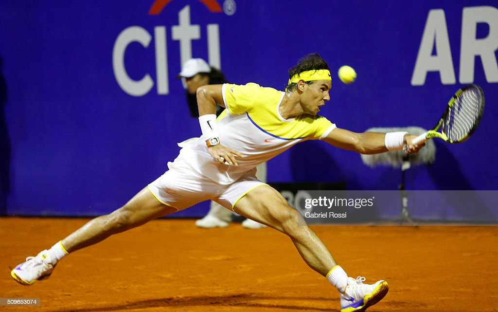 Rafael Nadal of Spain takes a forehand shot during a match between Rafael Nadal of Spain and Juan Monaco of Argentina as part of ATP Argentina Open at Buenos Aires Lawn Tennis Club on February 11, 2016 in Buenos Aires, Argentina.