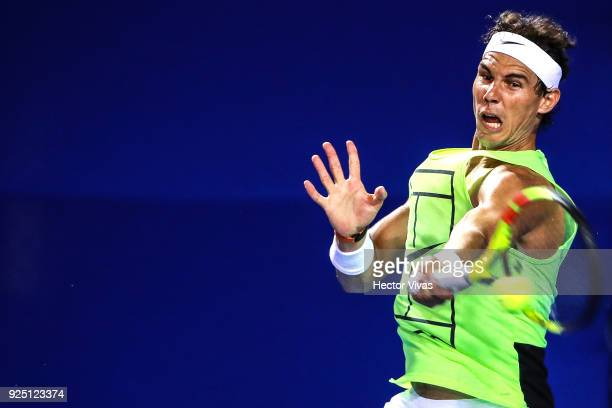 Rafael Nadal of Spain takes a forehand shot during a training session as part of the Telcel Mexican Open 2018 at Mextenis Stadium on February 26 2018...
