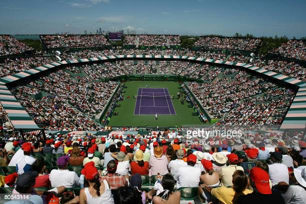 Rafael Nadal of Spain takes on Nikolay Davydenko of Russia during the men's singles final on day fourteen of the Sony Ericsson Open at the Crandon...