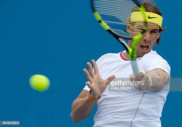 Rafael Nadal of Spain takes part in a practice session ahead of the Australian Open tennis tournament in Melbourne on January 14 2016 AFP PHOTO /...