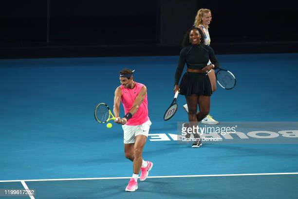 Rafael Nadal of Spain takes part in the Rally for Relief Bushfire Appeal event at Rod Laver Arena on January 15 2020 in Melbourne Australia