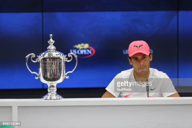 Rafael Nadal of Spain talks during a press conference after defeating Kevin Anderson of South Africa in Men's Singles final match within the 2017 US...