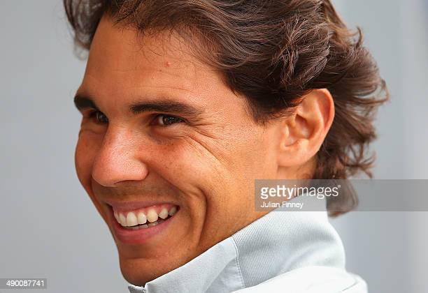 Rafael Nadal of Spain talks to media during day three of the Internazionali BNL d'Italia tennis 2014 on May 13 2014 in Rome Italy