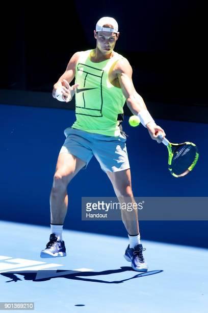 Rafael Nadal of Spain trains ahead of the Australian Open Grand Slam at Rod Laver Arena on January 5 2018 in Melbourne Australia
