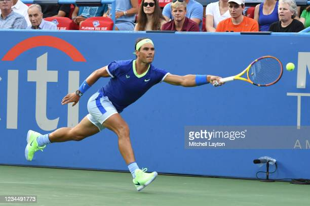 Rafael Nadal of Spain tries to return a shot during a match against Lloyd Harris of South Africa on Day 6 during the Citi Open at Rock Creek Tennis...