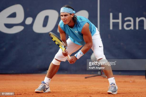 Rafael Nadal of Spain waits for the ball during the match against Andy Murray of England during day four of the Tennis Masters Series Hamburg at...