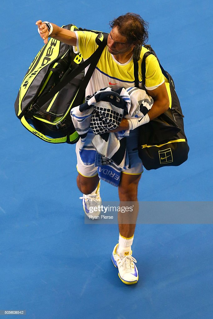 Rafael Nadal of Spain walks off court after losing his first round match against Fernando Verdasco of Spain during day two of the 2016 Australian Open at Melbourne Park on January 19, 2016 in Melbourne, Australia.
