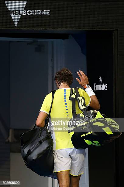 Rafael Nadal of Spain walks off court after losing his first round match against Fernando Verdasco of Spain during day two of the 2016 Australian...