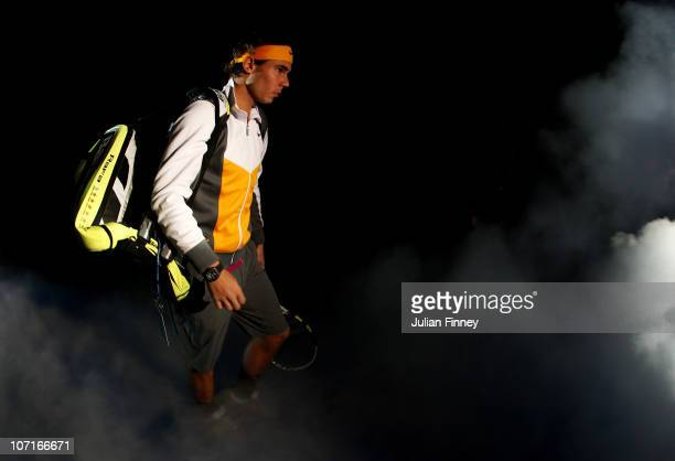 Rafael Nadal of Spain walks on to court before his men's semifinal match against Andy Murray of Great Britain during the ATP World Tour Finals at O2...