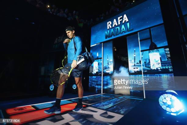 Rafael Nadal of Spain walks out for his Singles match against David Goffin of Belgium during day two of the Nitto ATP World Tour Finals at O2 Arena...