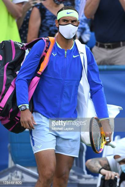 Rafael Nadal of Spain walks out on court before a match against Lloyd Harris of South Africa on Day 6 during the Citi Open at Rock Creek Tennis...
