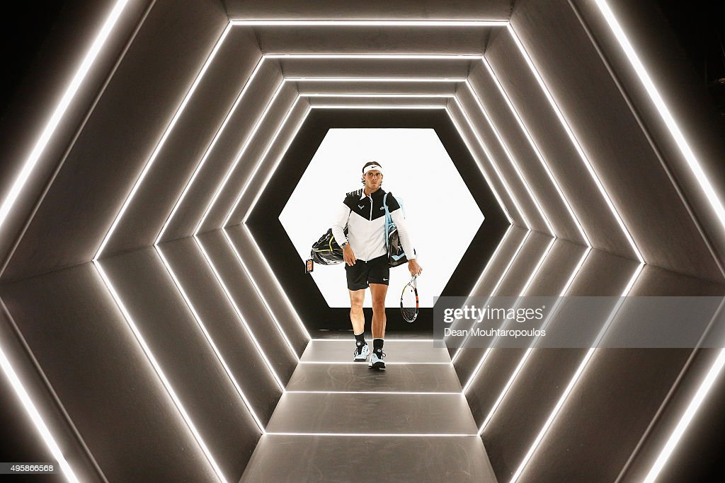 Rafael Nadal of Spain walks out to play his match against Kevin Anderson of South Africa during Day 4 of the BNP Paribas Masters held at AccorHotels Arena on November 5, 2015 in Paris, France.