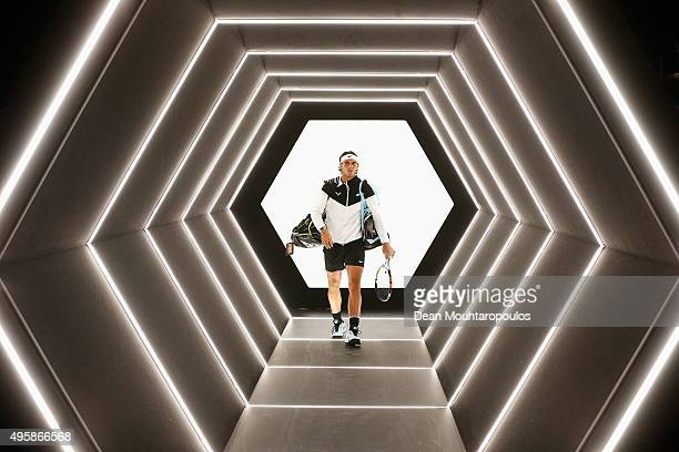 Rafael Nadal of Spain walks out to play his match against Kevin Anderson of South Africa during Day 4 of the BNP Paribas Masters held at AccorHotels...
