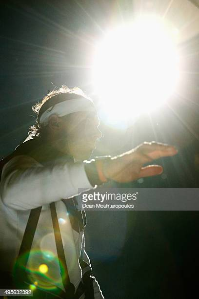 Rafael Nadal of Spain walks out to play his match against Lukas Rosol of Czech Republic during Day 3 of the BNP Paribas Masters held at AccorHotels...