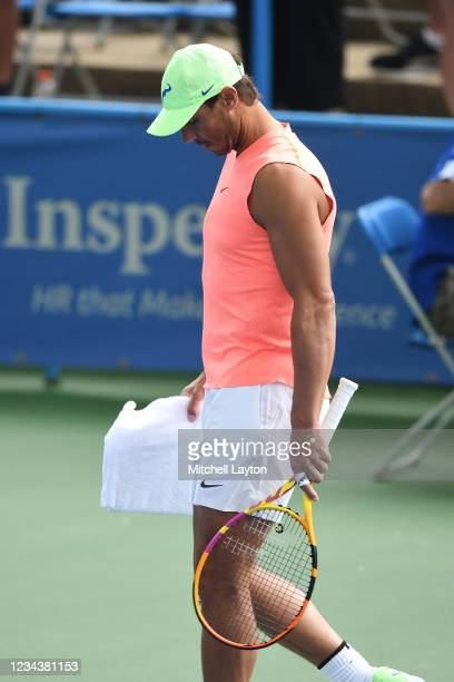 Rafael Nadal of Spain walks out to the court for a practice session on Day 2 of Citi Open at Rock Creek Tennis Center on August 1, 2021 in...