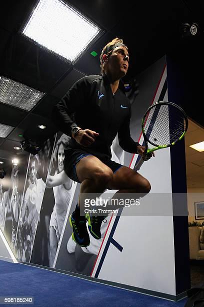 Rafael Nadal of Spain warms up before his second round Men's Singles match against Andreas Seppi of Italy on Day Three of the 2016 US Open at the...