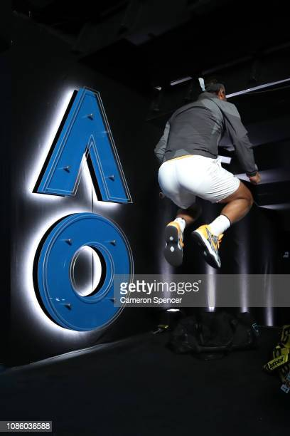 Rafael Nadal of Spain warms up before walking onto Rod Laver Arena for his quarter final match against Frances Tiafoe of the United States during day...
