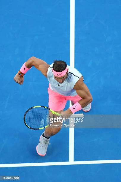 Rafael Nadal of Spain warms up for his first round match against Victor Estrella Burgos of Dominican Republic on day one of the 2018 Australian Open...