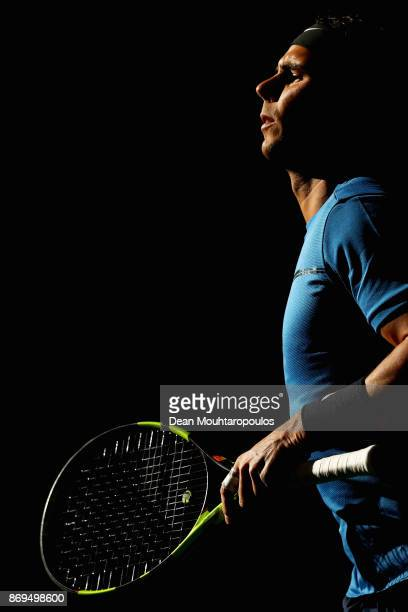 Rafael Nadal of Spain warms up prior to his match against Pablo Cuevas of Uraguay during Day 4 of the Rolex Paris Masters held at the AccorHotels...
