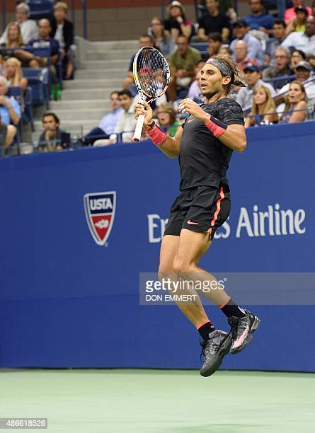 Rafael Nadal of Spain watches a return to Fabio Fognini of Italy during their 2015 US Open third round men's singles match at the USTA Billie Jean...