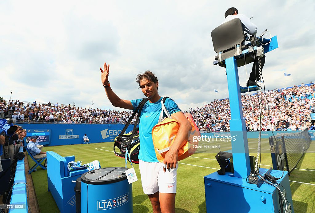 Rafael Nadal of Spain waves to the crowd after his defeat in his men's singles first round match against Alexandr Dolgopolov of Ukraine during day two of the Aegon Championships at Queen's Club on June 16, 2015 in London, England.