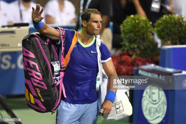 Rafael Nadal of Spain waves to the crowd after losing a match to Lloyd Harris of South Africa on Day 6 during the Citi Open at Rock Creek Tennis...