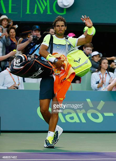 Rafael Nadal of Spain waves to the crowd after losing to Fernando Verdasco of Spain during day 7 of the Miami Open at Crandon Park Tennis Center on...