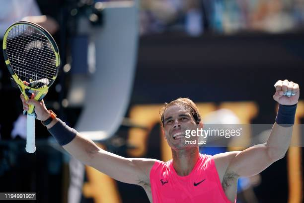 Rafael Nadal of Spain waves to the crowd after winning his Men's Singles first round match against Hugo Dellien of Bolivia on day two of the 2020...