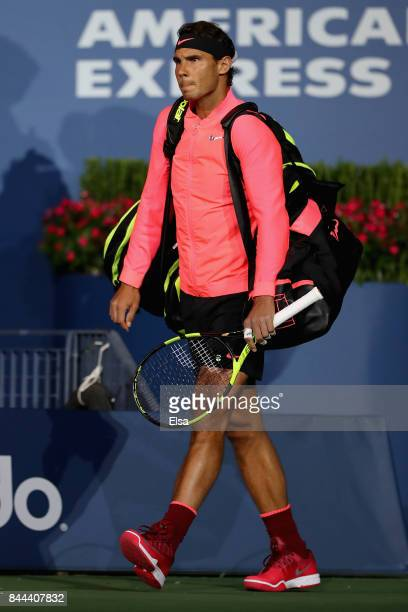 Rafael Nadal of Spain waves to the crowd prior to his Men's Singles Semifinal match against Juan Martin del Potro of Argentina on Day Twelve of the...
