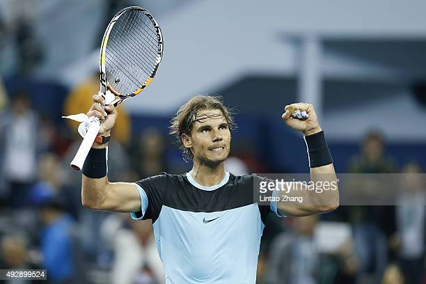Rafael Nadal of Spain winning his men's singles quarterfinals match against Stan Wawrinka of Switzerland on day 6 of Shanghai Rolex Masters at Qi...