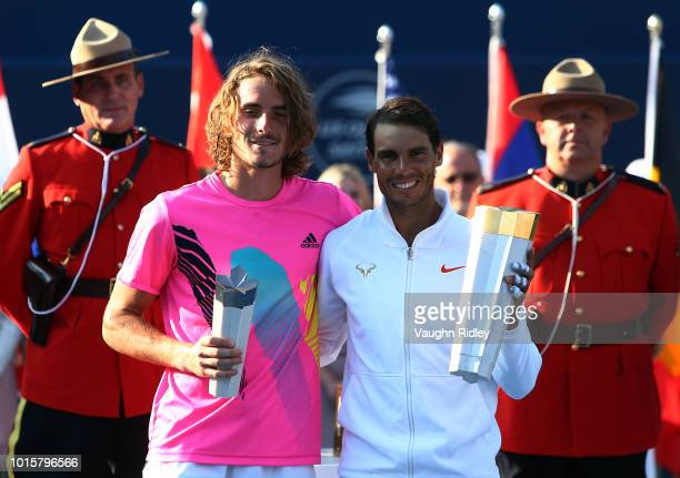 Rafael Nadal of Spain with the champions trophy following his win in the final match against Stefanos Tsitsipas of Greece on Day 7 of the Rogers Cup...