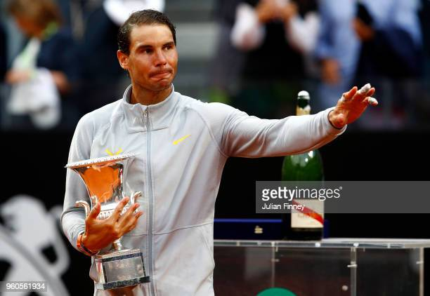 Rafael Nadal of Spain with the winners trophy after his win over Alexander Zverev of Germany in the final during day eight of the Internazionali BNL...