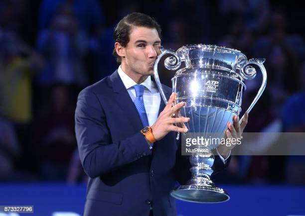 Rafael Nadal of Spain worlds number one with Trophy during Day One of the Nitto ATP World Tour Finals World Tour Finals 2017 played at The O2 Arena...