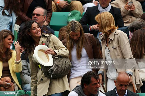 Rafael Nadal of Spain's girlfriend Xisca Perello sister Isabel Nadal and mother Ana Maria Parera arrive for his Men's Singles final match against...