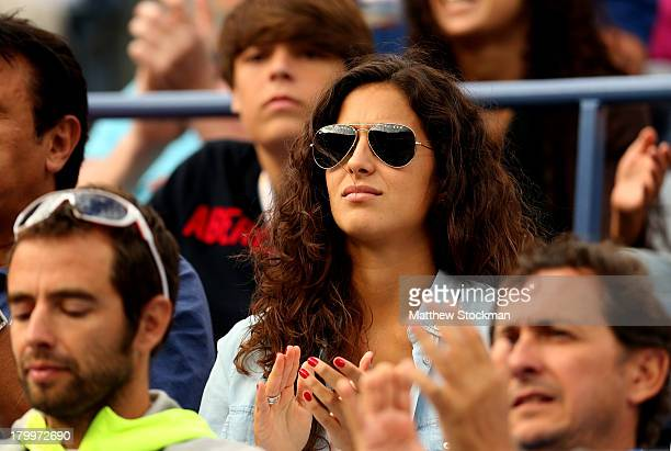 Rafael Nadal of Spain's girlfriend Xisca Perello watches his men's singles semifinal match against Richard Gasquet of France on Day Thirteen of the...