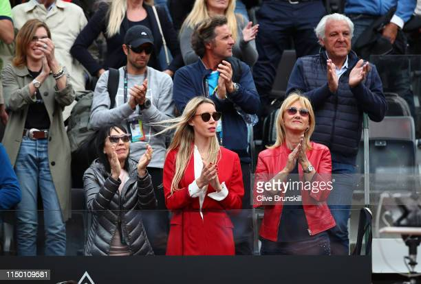 Rafael Nadal of Spain's sister Maria Isabel Nadal mother Ana Maria Parera and his father Sebastian Nadal celebrate Rafael Nadal of Spain's straight...