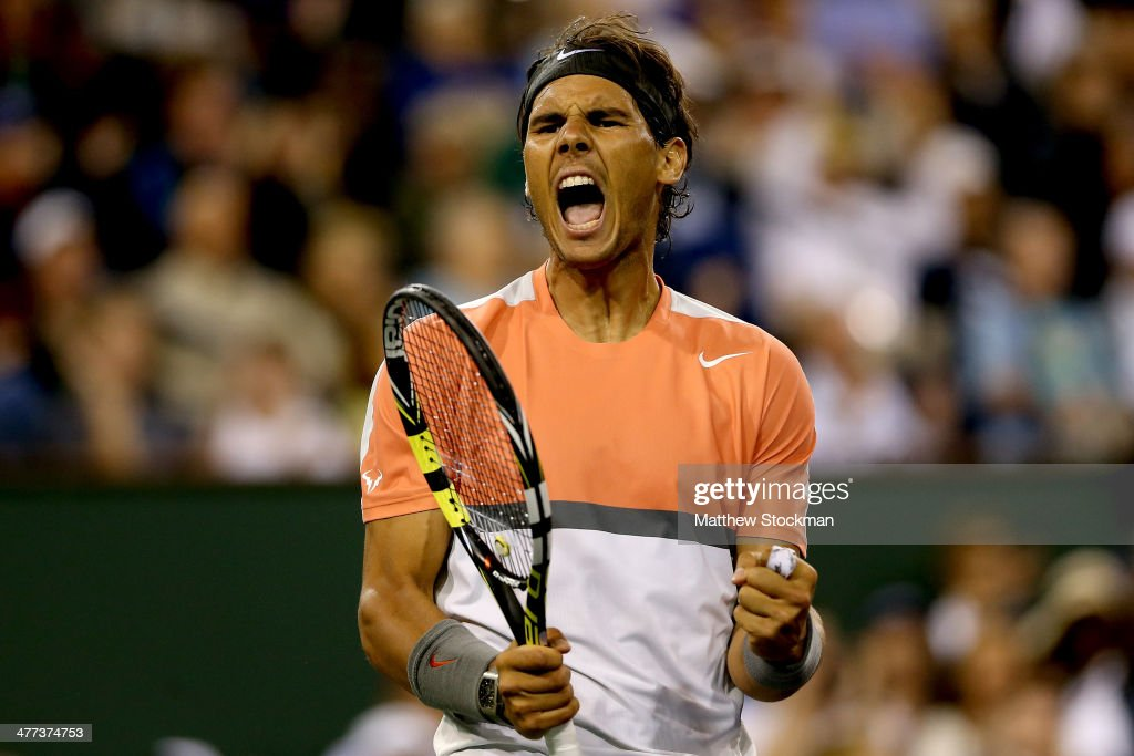 Rafael Nadal of Spoain celebrates breaking Radek Stepanek of Czech Republic during the BNP Parabas Open at the Indian Wells Tennis Garden on March 8, 2014 in Indian Wells, California.