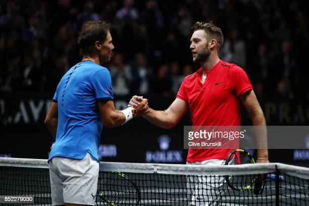 Rafael Nadal of Team Europe celebrates at the net after winning his singles match against Jack Sock of Team World on Day 2 of the Laver Cup on...