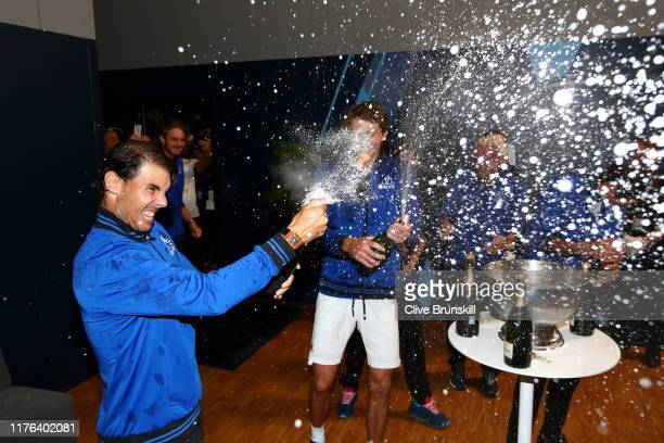 Rafael Nadal of Team Europe celebrates in the locker room after winning the Laver Cup during Day Three of the Laver Cup 2019 at Palexpo on September...