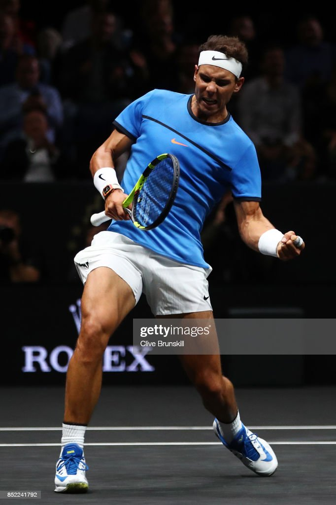 Rafael Nadal of Team Europe celebrates winning a point during his singles match against Jack Sock of Team World on Day 2 of the Laver Cup on September 23, 2017 in Prague, Czech Republic. The Laver Cup consists of six European players competing against their counterparts from the rest of the World. Europe will be captained by Bjorn Borg and John McEnroe will captain the Rest of the World team. The event runs from 22-24 September.