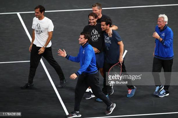 Rafael Nadal of Team Europe celebrates winning the Laver Cup with teammate Fabio Fognini after the final match of the tournament during Day Three of...