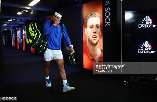 Rafael Nadal of Team Europe enters the arena on Day 2 of the Laver Cup on September 23 2017 in Prague Czech Republic The Laver Cup consists of six...