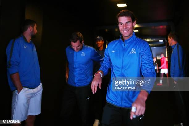 Rafael Nadal of Team Europe enters the arena on the first day of the Laver Cup on September 22 2017 in Prague Czech Republic The Laver Cup consists...