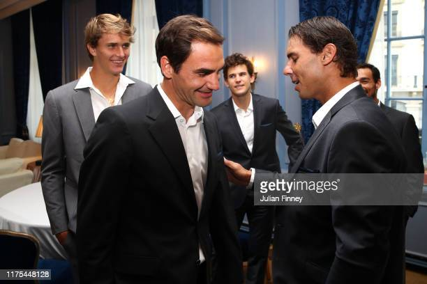 Rafael Nadal of Team Europe greets Roger Federer of Team Europe as they as they prepare ahead of the official welcome ceremony prior to the Laver Cup...