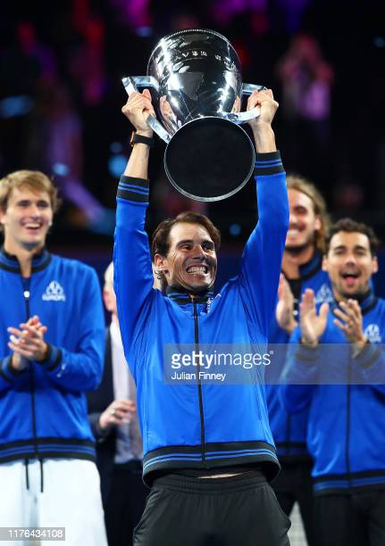 Rafael Nadal of Team Europe lifts the Laver Cup trophy after winning the Laver Cup in the final match of the tournament during Day Three of the Laver...