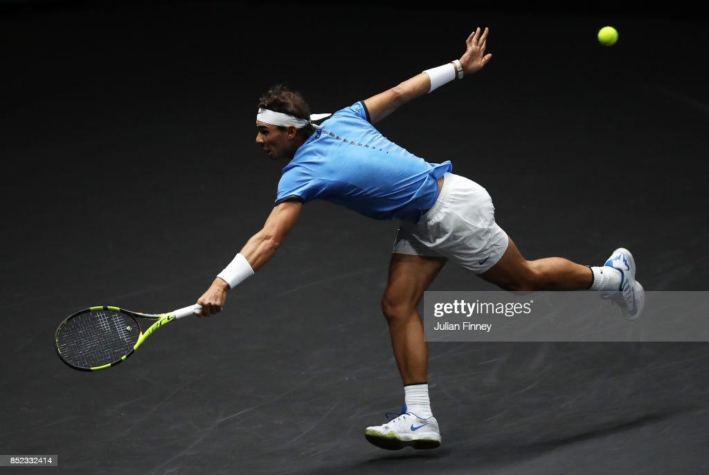Rafael Nadal of Team Europe plays a backhand during his singles match against Jack Sock of Team World on Day 2 of the Laver Cup on September 23, 2017 in Prague, Czech Republic. The Laver Cup consists of six European players competing against their counterparts from the rest of the World. Europe will be captained by Bjorn Borg and John McEnroe will captain the Rest of the World team. The event runs from 22-24 September.